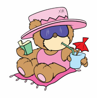 relaxing on vacation teddy bear girl design statuette