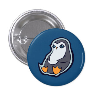 Relaxing Penguin Sweet Big Eyes Ink Drawing Design 1 Inch Round Button