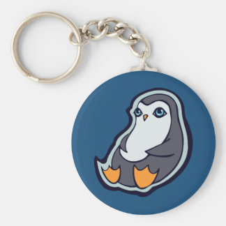 Relaxing Penguin Sweet Big Eyes Ink Drawing Design Basic Round Button Keychain