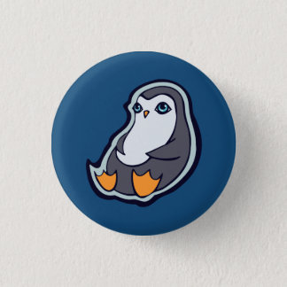 Relaxing Penguin Sweet Big Eyes Ink Drawing Design Button
