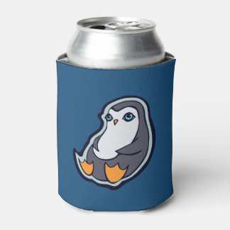 Relaxing Penguin Sweet Big Eyes Ink Drawing Design Can Cooler