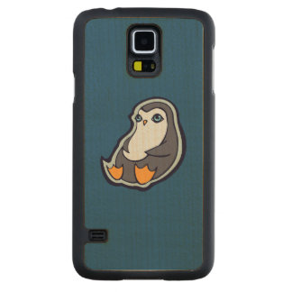 Relaxing Penguin Sweet Big Eyes Ink Drawing Design Carved® Maple Galaxy S5 Case