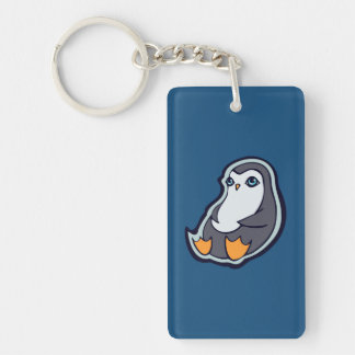 Relaxing Penguin Sweet Big Eyes Ink Drawing Design Double-Sided Rectangular Acrylic Keychain