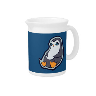 Relaxing Penguin Sweet Big Eyes Ink Drawing Design Drink Pitcher