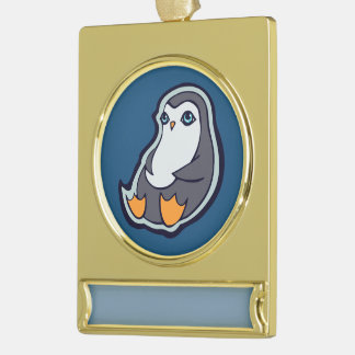 Relaxing Penguin Sweet Big Eyes Ink Drawing Design Gold Plated Banner Ornament