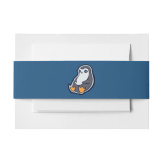 Relaxing Penguin Sweet Big Eyes Ink Drawing Design Invitation Belly Band