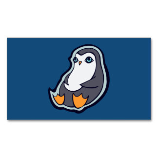 Relaxing Penguin Sweet Big Eyes Ink Drawing Design Magnetic Business Card