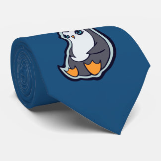 Relaxing Penguin Sweet Big Eyes Ink Drawing Design Neck Tie