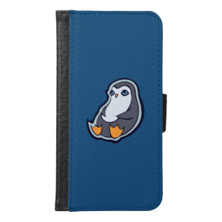 Relaxing Penguin Sweet Big Eyes Ink Drawing Design Samsung Galaxy S6 Wallet Case