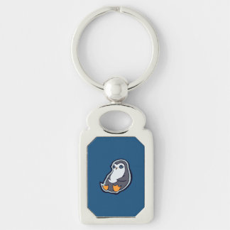 Relaxing Penguin Sweet Big Eyes Ink Drawing Design Silver-Colored Rectangular Metal Keychain