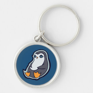 Relaxing Penguin Sweet Big Eyes Ink Drawing Design Silver-Colored Round Keychain