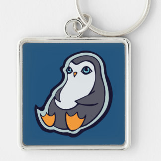 Relaxing Penguin Sweet Big Eyes Ink Drawing Design Silver-Colored Square Keychain