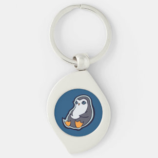 Relaxing Penguin Sweet Big Eyes Ink Drawing Design Silver-Colored Swirl Metal Keychain