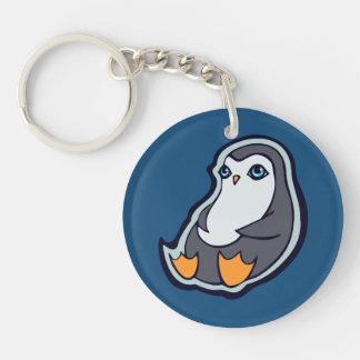 Relaxing Penguin Sweet Big Eyes Ink Drawing Design Single-Sided Round Acrylic Keychain