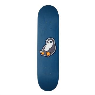 Relaxing Penguin Sweet Big Eyes Ink Drawing Design Skateboard Deck