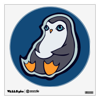 Relaxing Penguin Sweet Big Eyes Ink Drawing Design Wall Decal