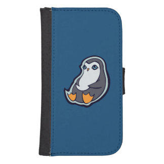 Relaxing Penguin Sweet Big Eyes Ink Drawing Design Wallet Phone Case For Samsung Galaxy S4