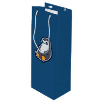 Relaxing Penguin Sweet Big Eyes Ink Drawing Design Wine Gift Bag
