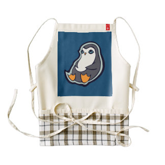 Relaxing Penguin Sweet Big Eyes Ink Drawing Design Zazzle HEART Apron