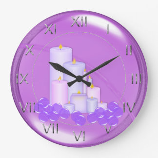 Relaxing Purple Candle Bathroom Large Clock