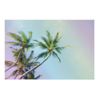 Relaxing Rainbow Color Palm Trees Poster