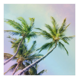 Relaxing Rainbow Color Palms Poster