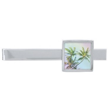 Beach Themed Relaxing Rainbow Color Palms Silver Finish Tie Clip