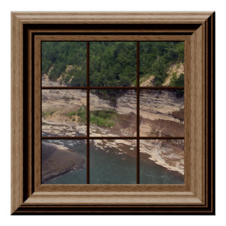 Relaxing River Gorge Faux Window Scene Canyon Poster