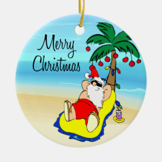 Relaxing Santa Tropical Christmas Ornament
