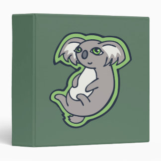Relaxing Smile Gray Koala Green Drawing Design 3 Ring Binder