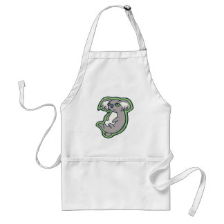 Relaxing Smile Gray Koala Green Drawing Design Adult Apron