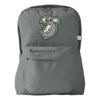 Relaxing Smile Gray Koala Green Drawing Design American Apparel™ Backpack