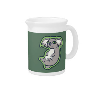 Relaxing Smile Gray Koala Green Drawing Design Beverage Pitcher