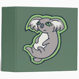 Relaxing Smile Gray Koala Green Drawing Design Binder