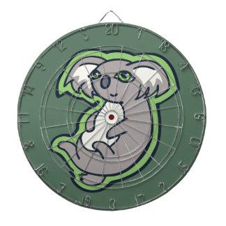 Relaxing Smile Gray Koala Green Drawing Design Dartboards