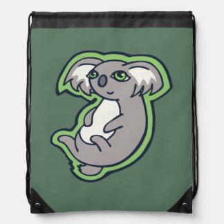 Relaxing Smile Gray Koala Green Drawing Design Drawstring Bag