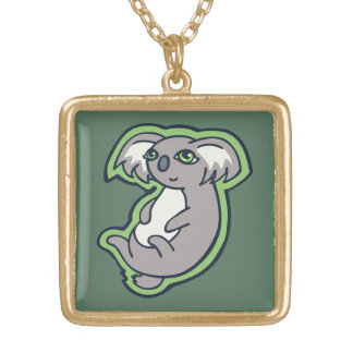 Relaxing Smile Gray Koala Green Drawing Design Gold Plated Necklace