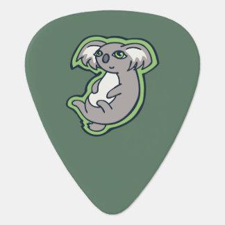 Relaxing Smile Gray Koala Green Drawing Design Guitar Pick