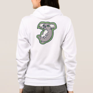 Relaxing Smile Gray Koala Green Drawing Design Hoodie
