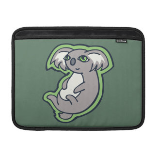Relaxing Smile Gray Koala Green Drawing Design MacBook Sleeve