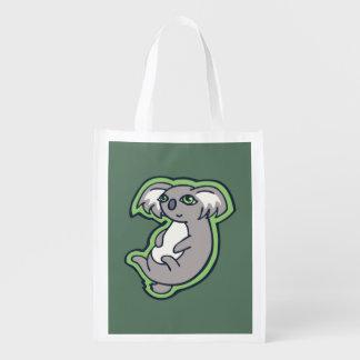 Relaxing Smile Gray Koala Green Drawing Design Reusable Grocery Bag