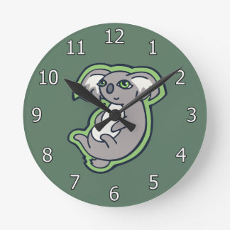 Relaxing Smile Gray Koala Green Drawing Design Round Clock