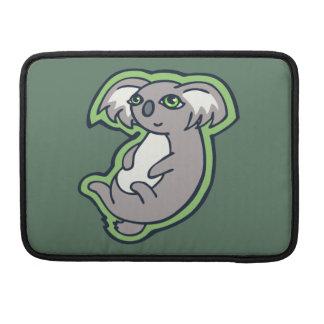 Relaxing Smile Gray Koala Green Drawing Design Sleeves For MacBooks