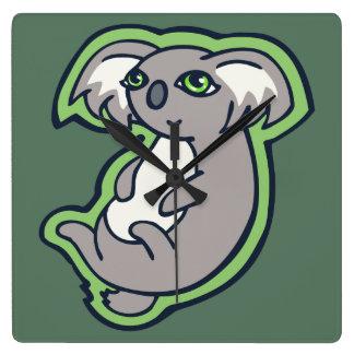 Relaxing Smile Gray Koala Green Drawing Design Square Wall Clock