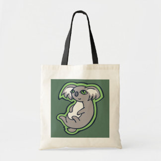 Relaxing Smile Gray Koala Green Drawing Design Tote Bag