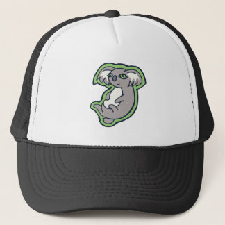 Relaxing Smile Gray Koala Green Drawing Design Trucker Hat