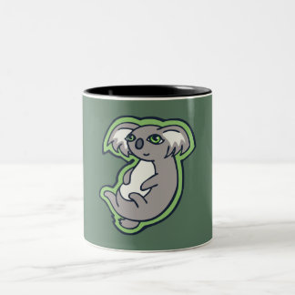 Relaxing Smile Gray Koala Green Drawing Design Two-Tone Coffee Mug