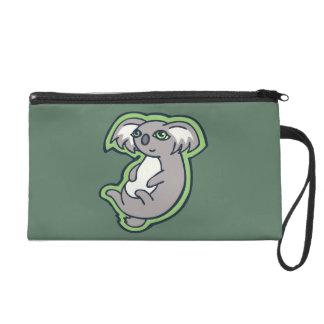 Relaxing Smile Gray Koala Green Drawing Design Wristlet Purse