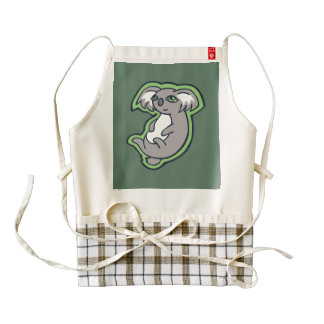 Relaxing Smile Gray Koala Green Drawing Design Zazzle HEART Apron