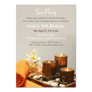 Relaxing Spa Birthday Party Invitations